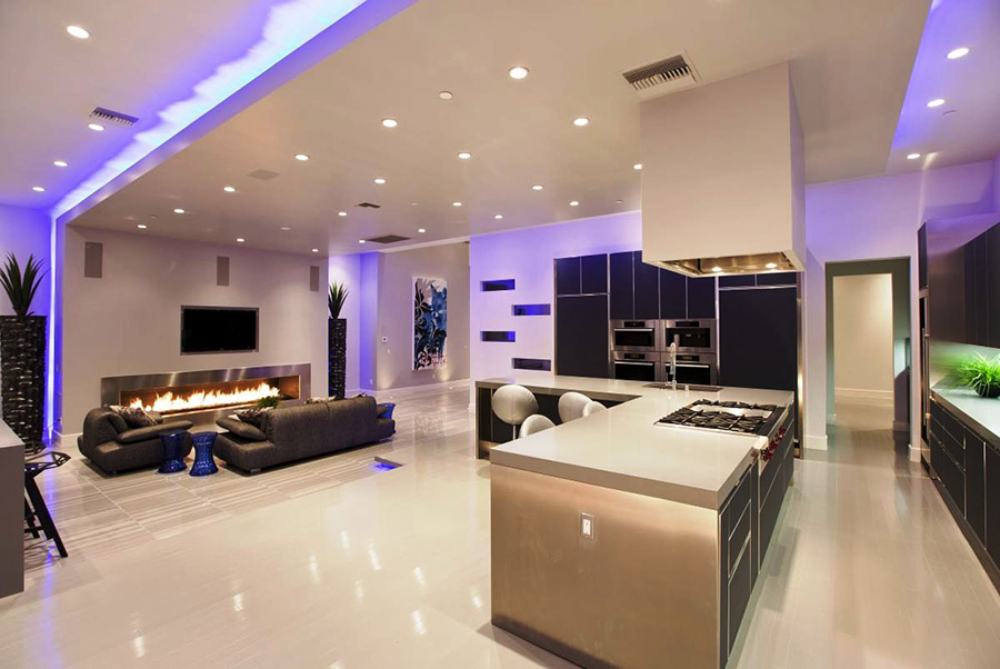 pretty-home-lighting-design-with-futuristic-blue-led-lighting-also-sweet-ceiling-lights-for-making-elegant-home-decoration-also-foxy-glossy-ceramic-tiles-flooring-plans