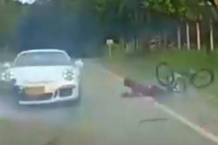 影/Porsche 911 GT3擊落單車騎士!到底是誰的錯?
